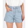 Short Jeans Mom Cintura Alta Lavagem Clara