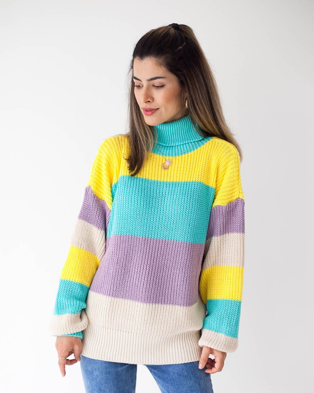 Blusa Tricot Colors Manga Bufante
