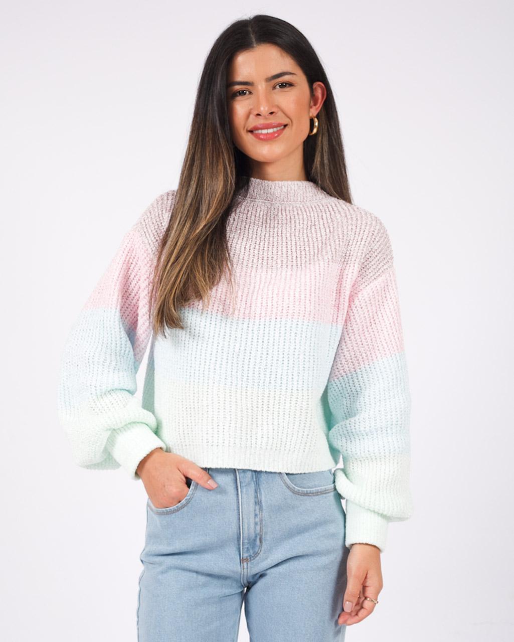 Blusa Tricot Cropped Colorido