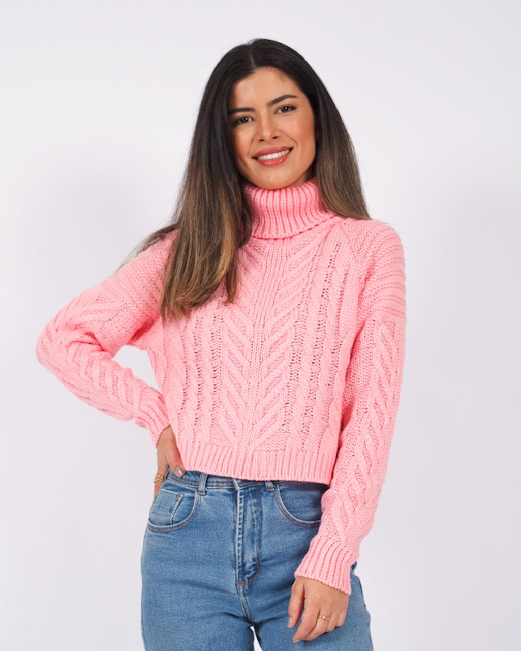 Blusa Tricot Cropped Gola Alta Rosa