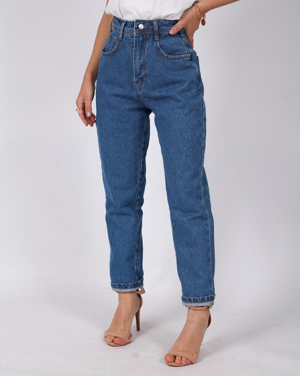 Calça Jeans Mom Básica Média