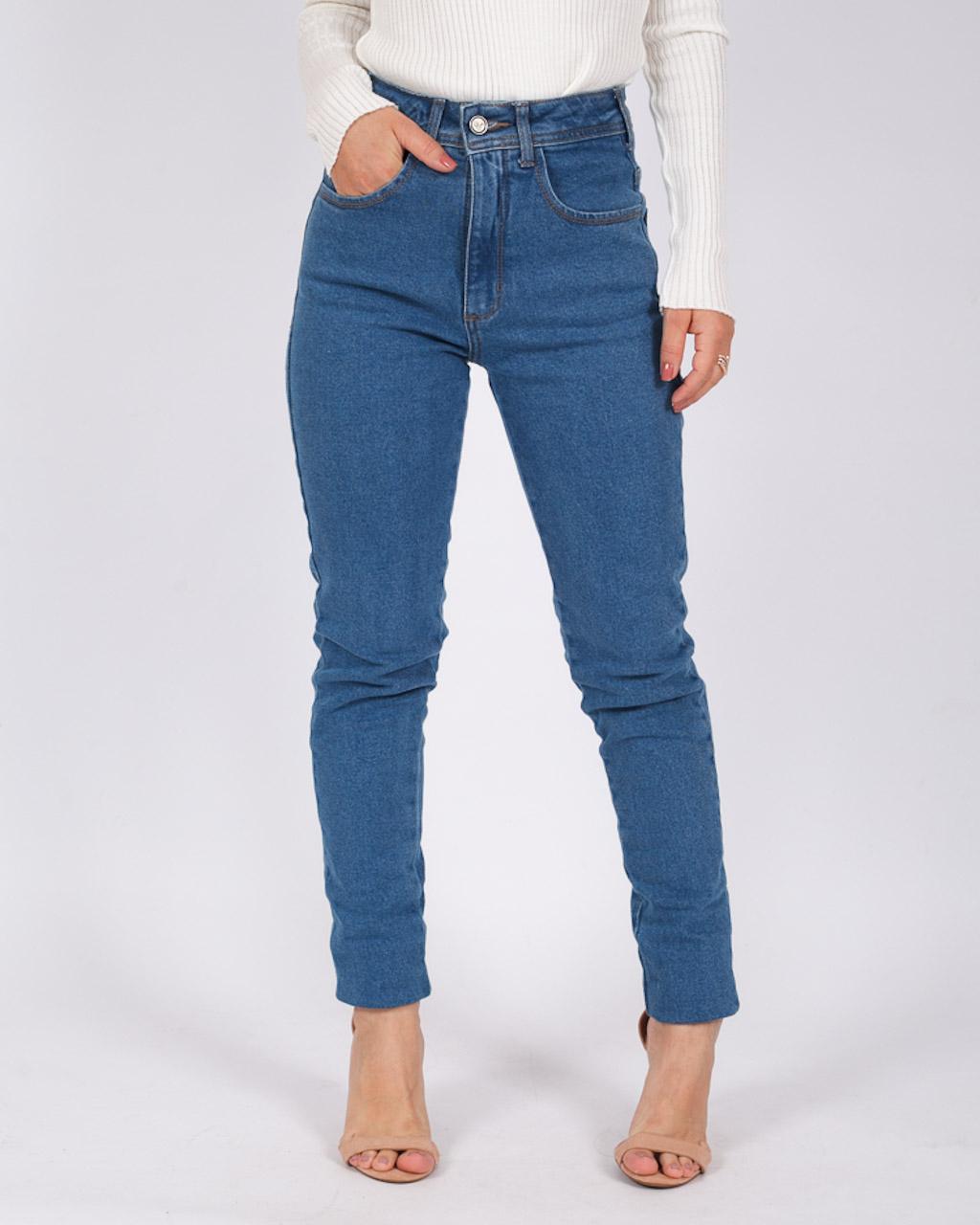 Calça Jeans Mom Com Barra a Fio Média
