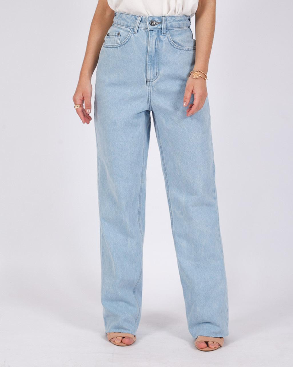 Calça Jeans Wide Leg Barra a Fio