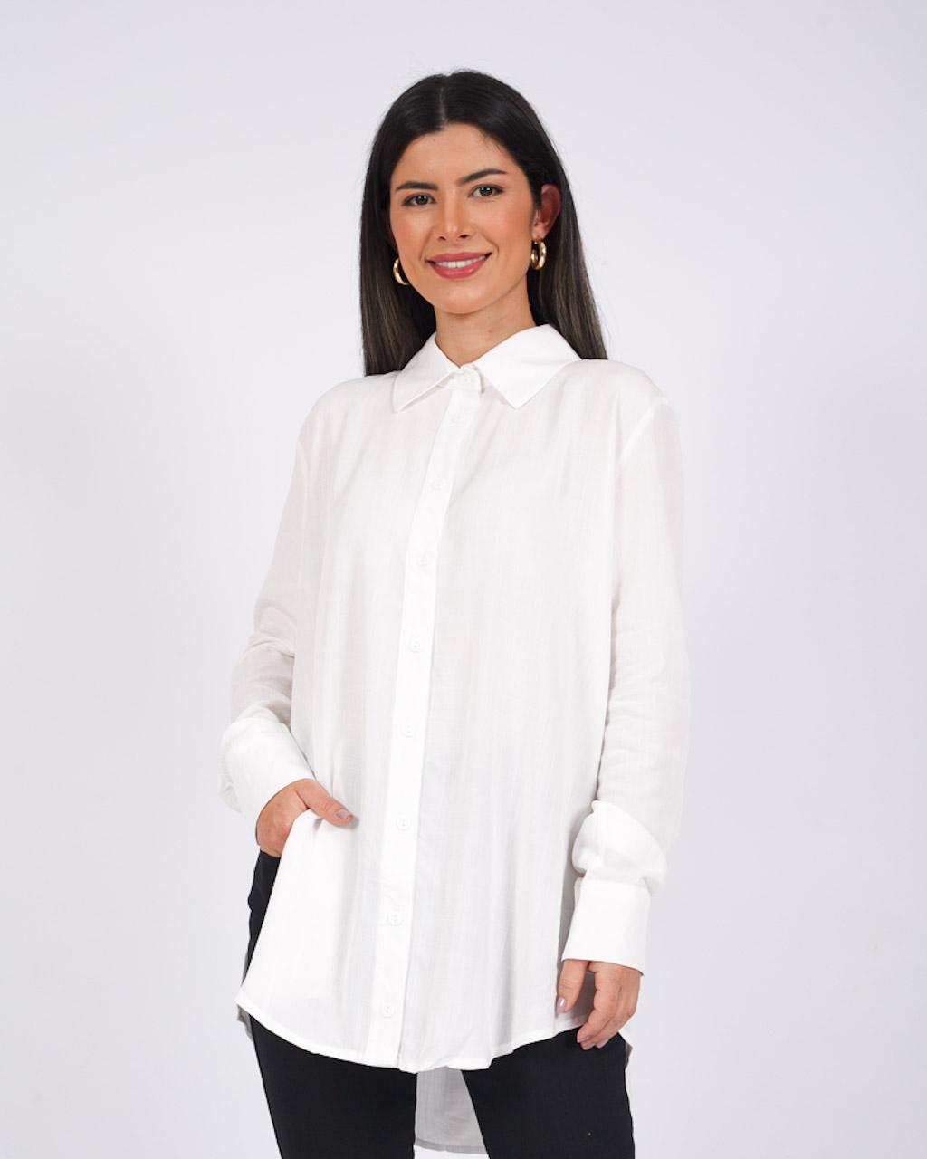 Camisa Alongada com Abertura Branca