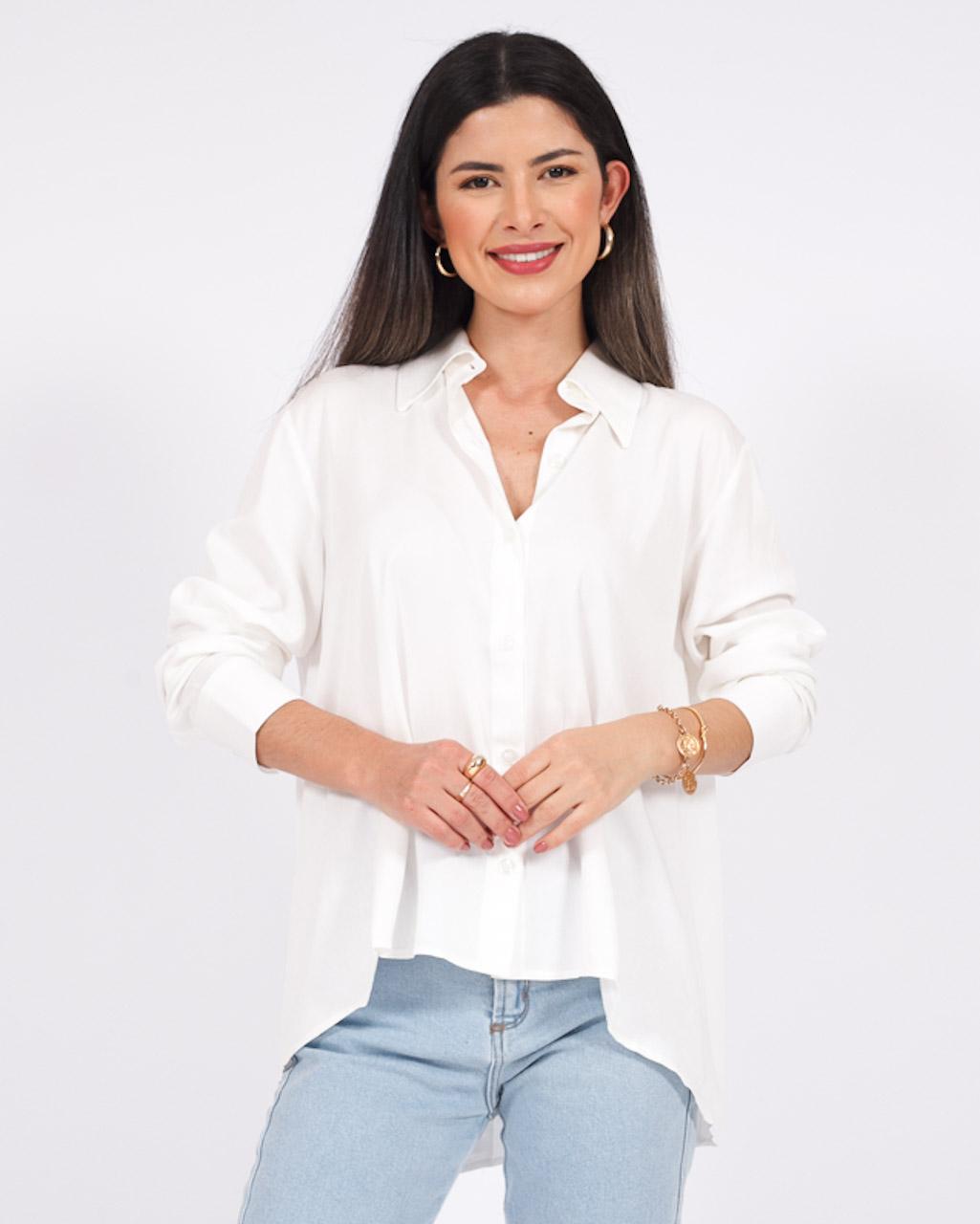 Camisa em Viscose Manga Longa Off White