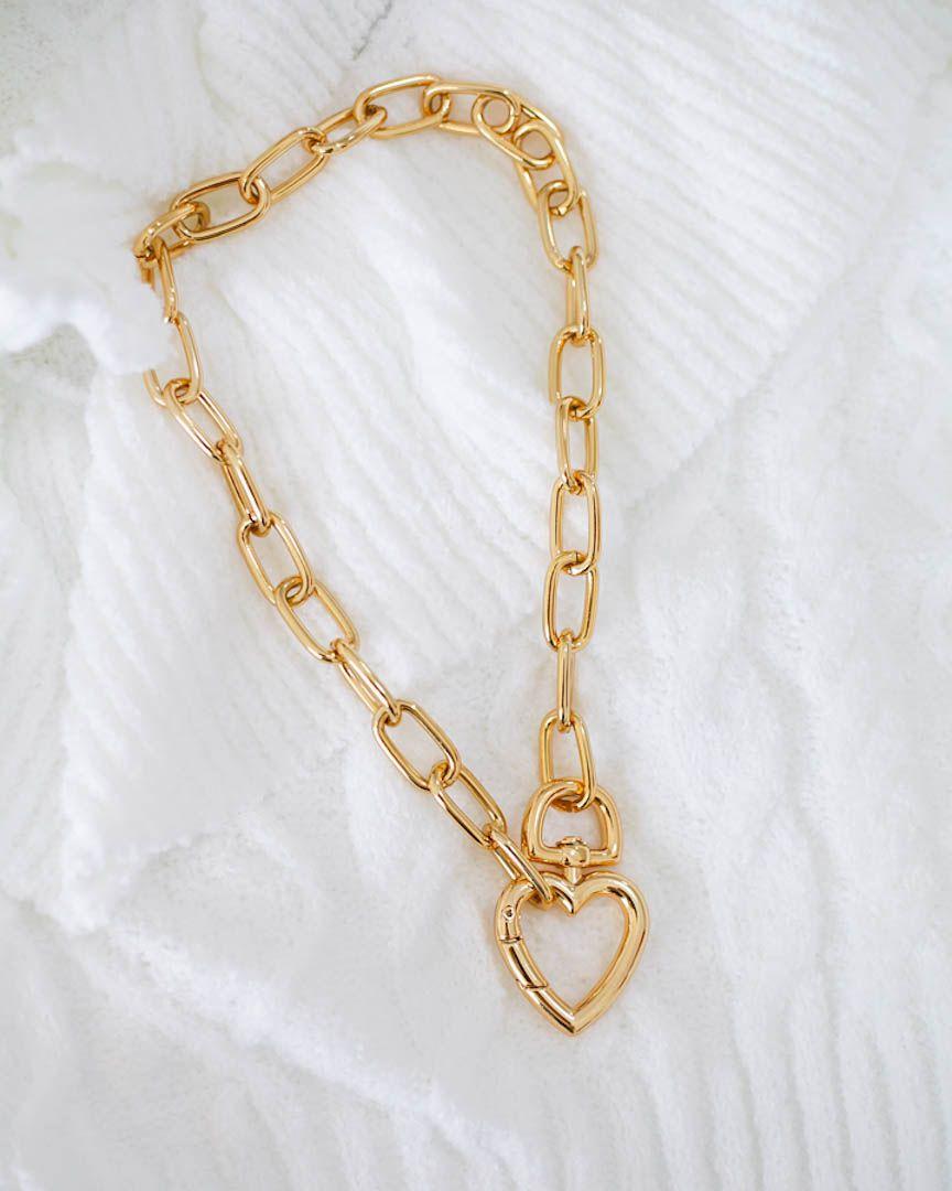 Colar Elos Coração Folheado em Ouro 18k