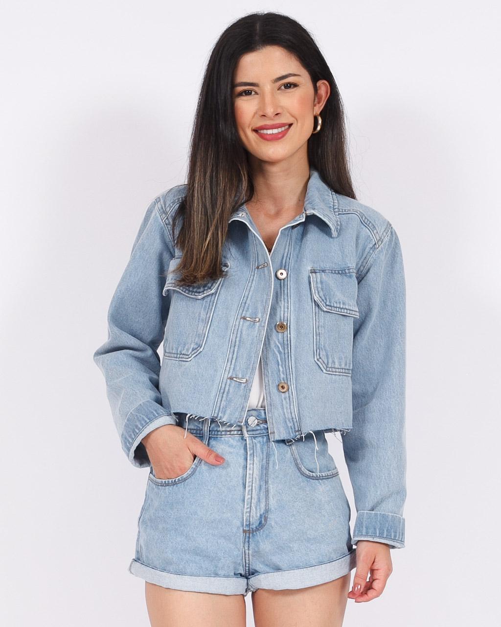 Jaqueta Jeans Cropped Bolso Chanfrado