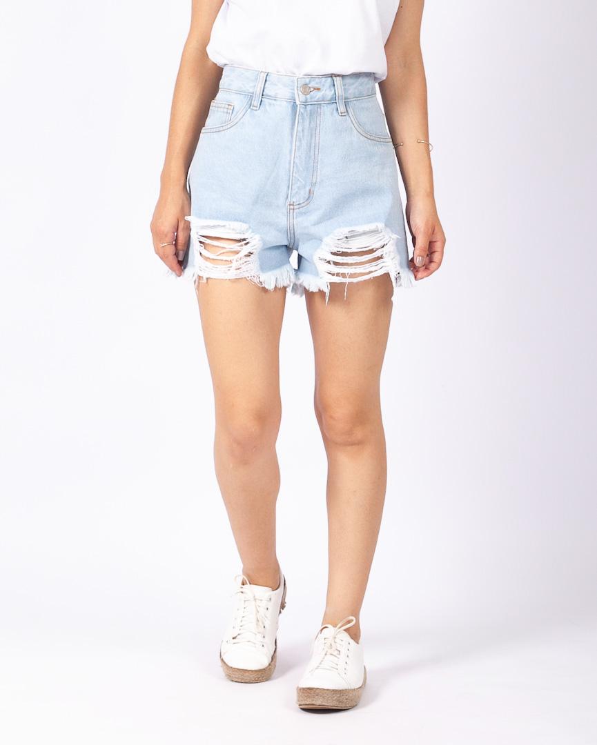 Short Jeans Destroyed Lavagem Clara