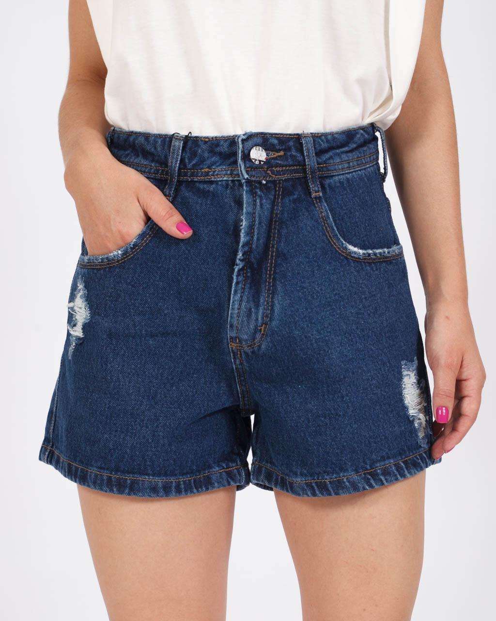 Short Jeans Mom Destroyed Lavagem Escura