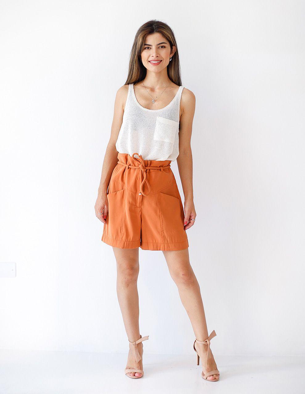 Shorts com Cinto em Cordão