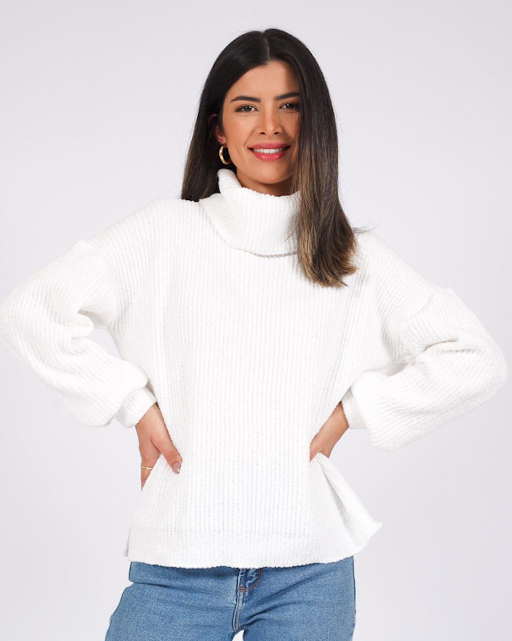 Suéter Gola Alta Branco