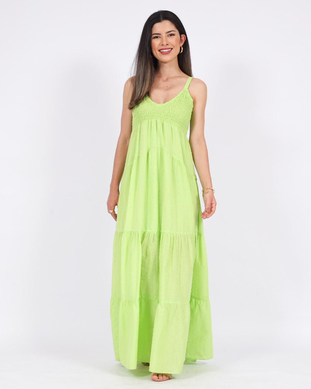 Vestido Longo Decote V em Lastex Verde
