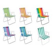 Cadeira De Praia Alta Dobrável Em Alumínio Bel 25500
