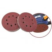 Disco de Lixa Com Velcro Perfurado 125mm Grão 80 5 Peças Mtx 738049