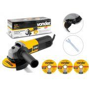 Esmerilhadeira Angular 650w Vonder Eav-650 115mm Com 3 Discos De Corte