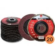 Kit 20 Discos Abrasivo De Lixa Flap Grão 60 115mm x 22mm Mtx 740289