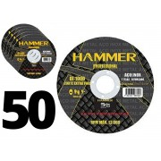Kit 50 Discos Corte Inox Di-1000 2 Telas Hammer 4.1/2 Polegadas