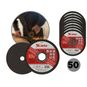 Kit 50 Discos De Corte 4.1/2 Pol.115mm Mtx 7432655 Metal