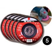 Kit 5 Discos Abrasivo De Lixa Flap Grão 60 115mm x 22mm Mtx 740289