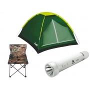 Kit  Acampamento Barraca + Lanterna Lampião + Cadeira Dobrável