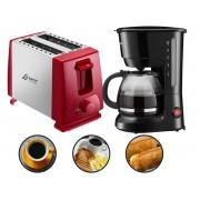 Kit Cozinha Torradeira Lenoxx Ptr-203 Inox Red Duo + Cafeteira Lenoxx Pca-018 18 Xícaras Voltagem:110v