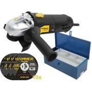 Kit Esmerilhadeira Lixadeira 710w Hammer + 10 Discos De Corte + Maleta De Ferramentas Fercar 02