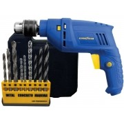 Kit Ferramenta Furadeira De Impacto Goodyear GY-DI-10600K-3 + Jogo De Brocas Mistas Hammer Kbx-9 Voltagem: 127v