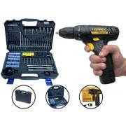 Kit Ferramenta Parafusadeira Hammer Pli-10 12v + Jogo De Broca e Bits Goodyear Gy-Dk-5006B 110 Peças