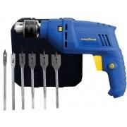 Kit Ferramentas Furadeira De Impacto Goodyear GY-DI-10600K-3 Com Brocas Chata Idea 4DL Voltagem:127v