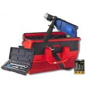 Kit Furadeira De Impacto 700w 13mm + Bolsa Porta Ferramentas + Soquetes C/ Catraca 40 Pçs + Brocas Mistas