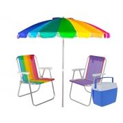 Kit Guarda Sol Articulado 2,60 M + 2 Cadeiras De Praia + Cooler 34 Litros
