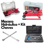 Kit Macaco Hidráulico + Chave de Roda + Kit Soquete 40 Peças