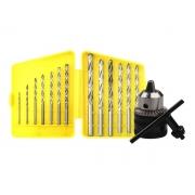 Kit Mandril 13mm Para Furadeira C/ Chave + Jogo De Brocas Aço Rápido 13 Peças