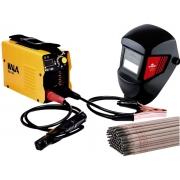 Kit Serralheiro Soldador Máquina Inversora Solda Ksi-130 + Máscara Com Filtro De Escurecimento Wk-71 + Eletrodo 1Kg