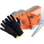 Kit Torno Morsa De Bancada N4 Base Giratória + Luvas De Proteção Pigmentada