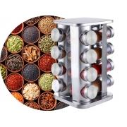Porta Condimento 16 Frascos Base Giratória Globalmix Aço Inox Quadrado