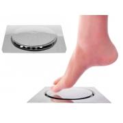 Ralo click 15x15cm Quadrado Em Aço Inox Sistema Inteligente Para Banheiro GlobalMix - GH053