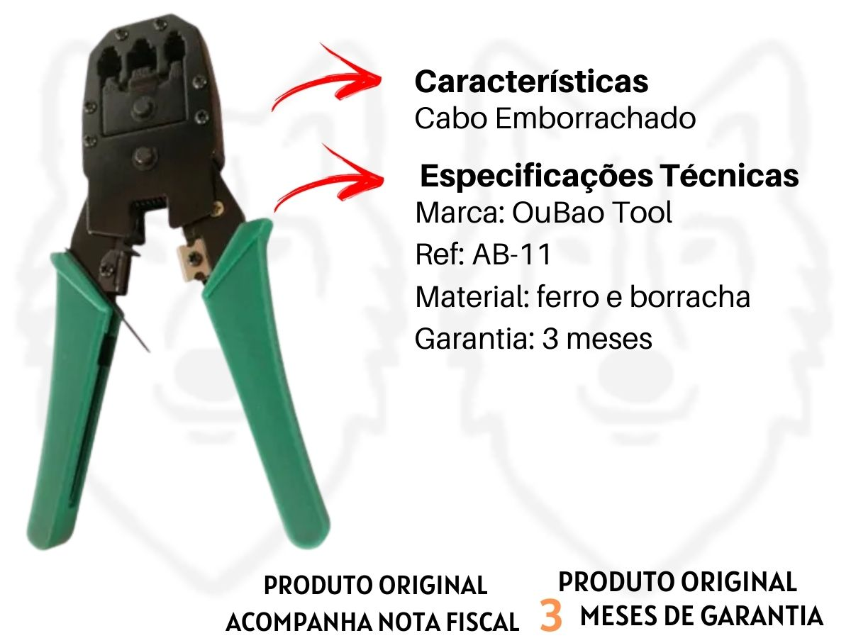 Alicate Crimpador 7 Pol. Oubao Tool AB-11 Cabo Emborrachado