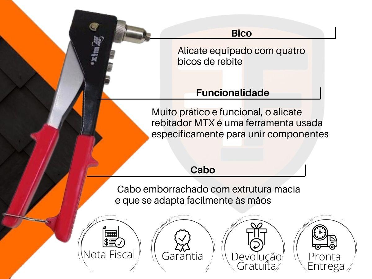 Alicate Rebitador 9 Pol. Mtx 405159 4 Bicos Com Cabo Emborrachado