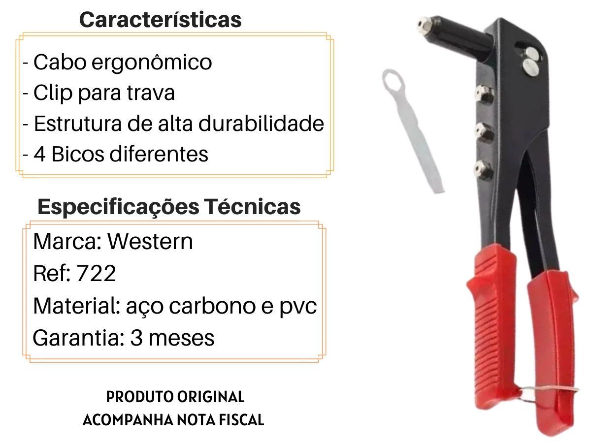 Alicate Rebitador 9 Pol. Western 722 4 Bicos Manual