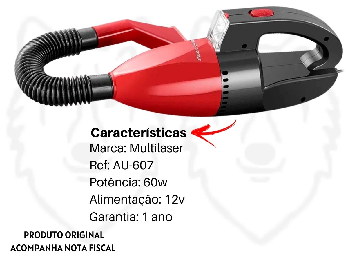 Aspirador De Pó Automotivo Multilaser Au-607 60w Portátil