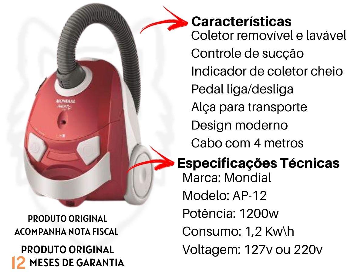Aspirador De Pó Mondial Ap-12 Next 1500 1200w Portátil