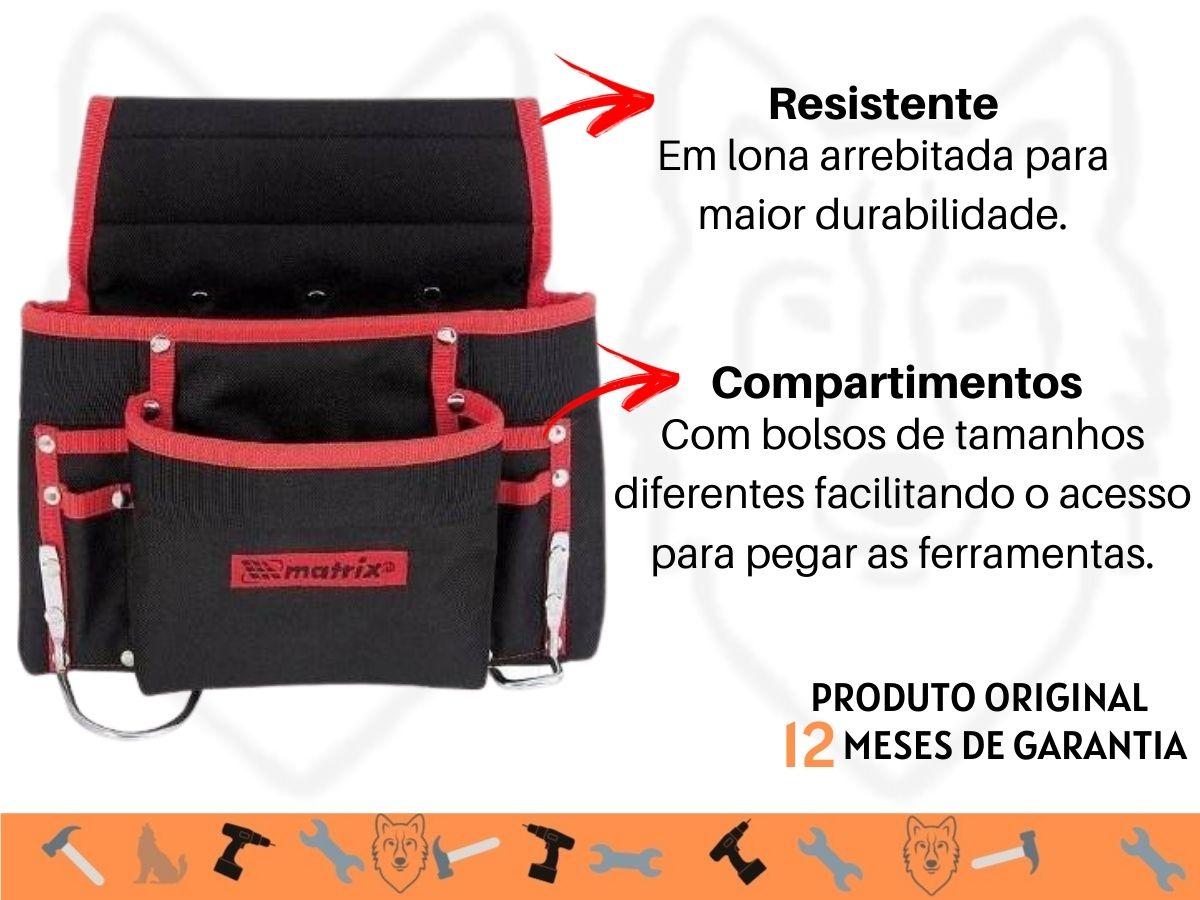 Bolsa De Cintura 8 Bolsos Mtx 902429 Porta Ferramentas Lona Rebitada