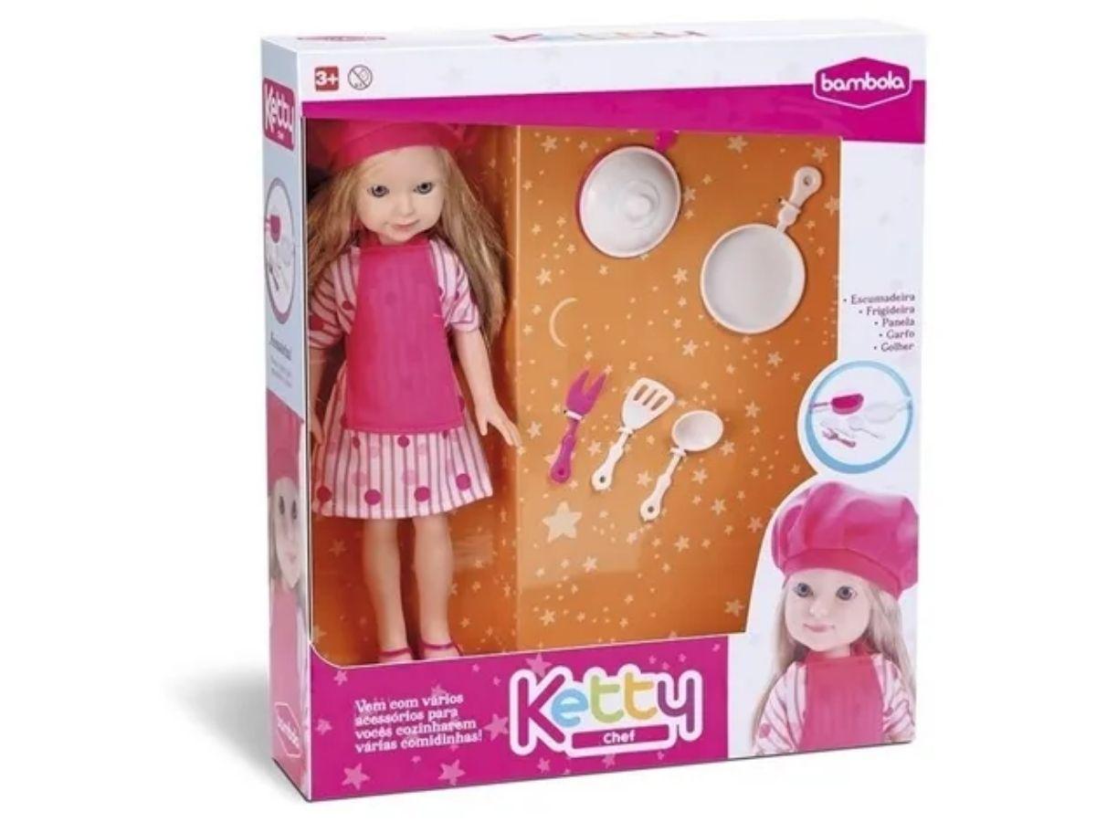 Brinquedo Boneca Ketty Chef Bambola 635 Com Kit De Cozinha