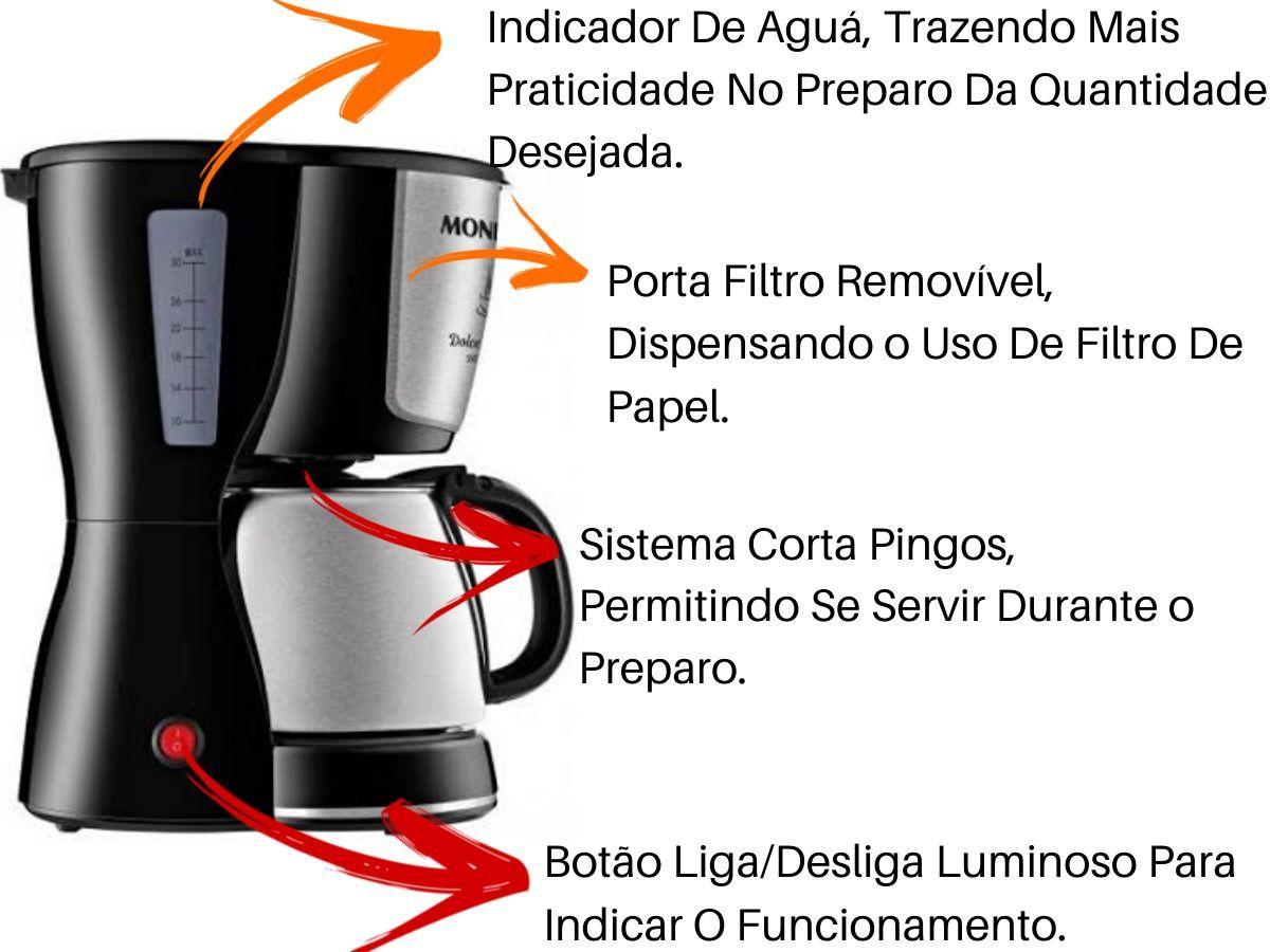 Cafeteira Elétrica Mondial C-32 800w Preto Inox 32 Xícaras