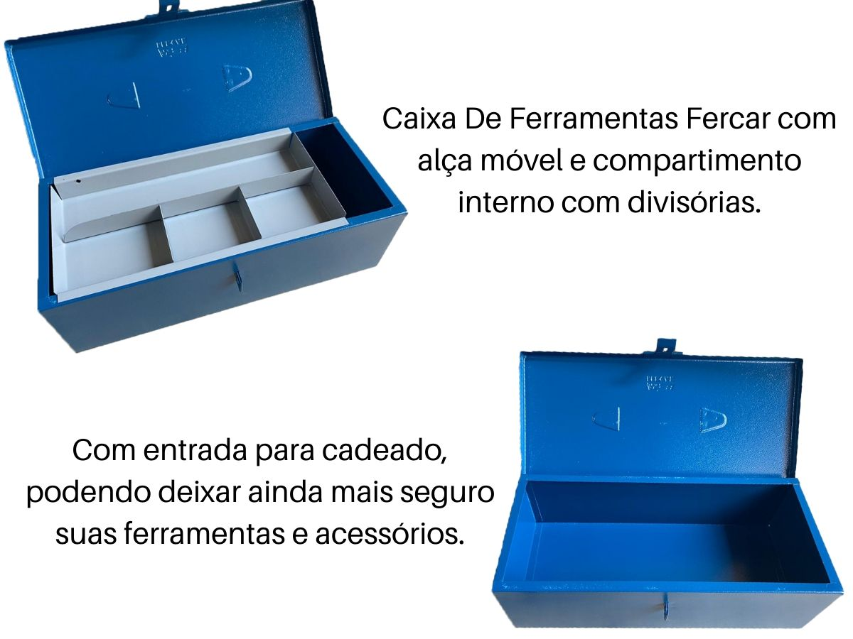 Caixa Baú Para Ferramentas Fercar 02 C/ Estojo Removível + Cadeado 25mm