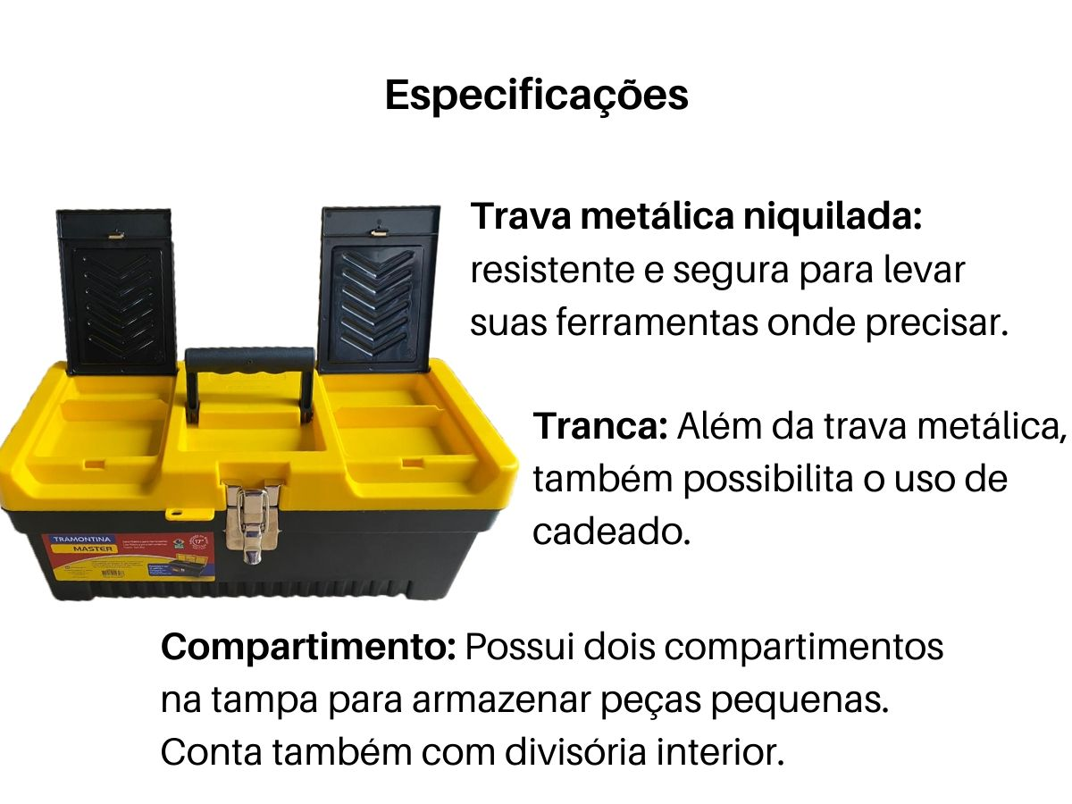 Caixa De Ferramentas 17 Pol. Tramontina Master Fecho Metal + Cadeado 25mm