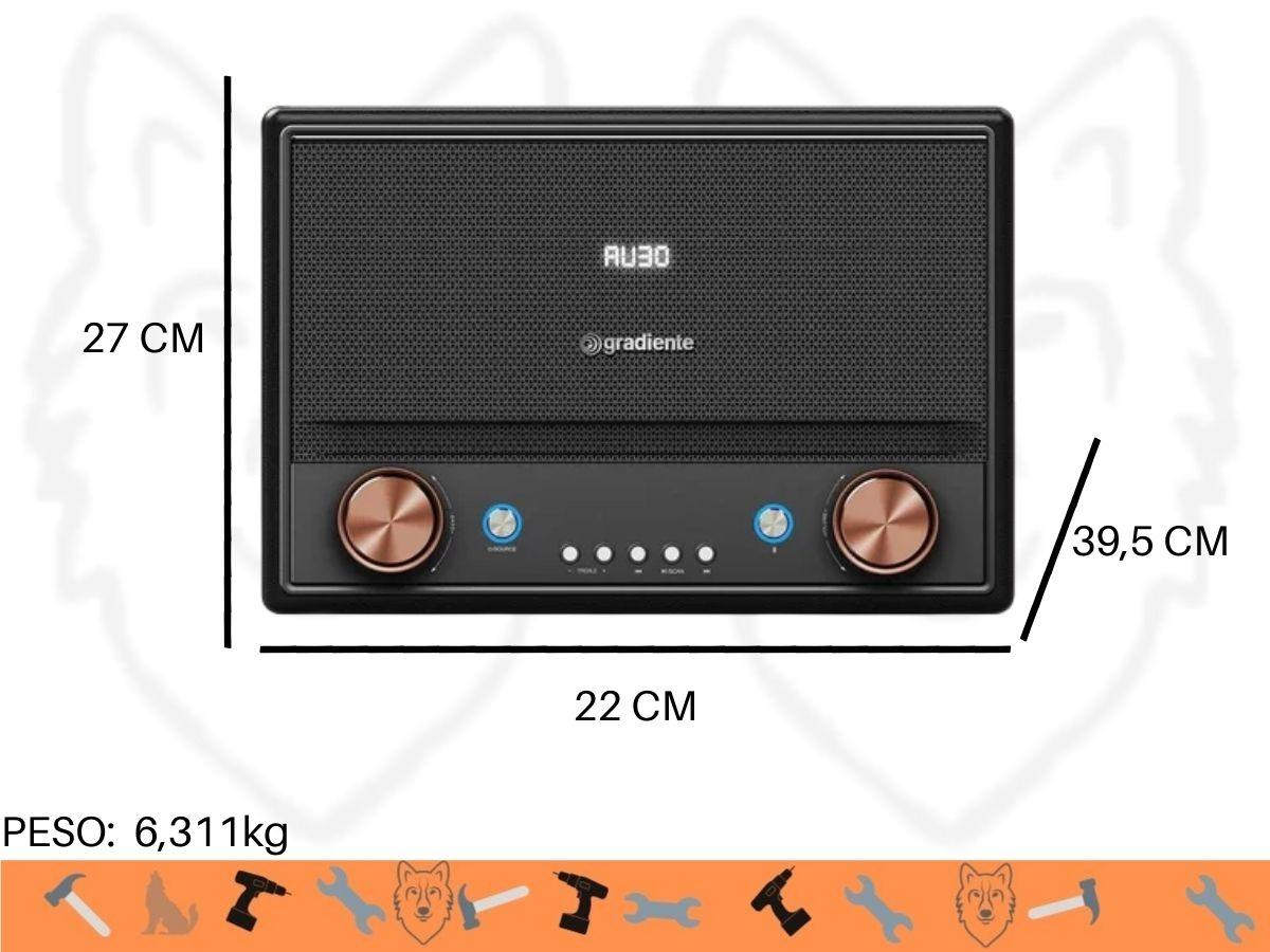 Caixa De Som Amplificada Gradiente GCR-108 Nostalgie Bt Usb 1000w