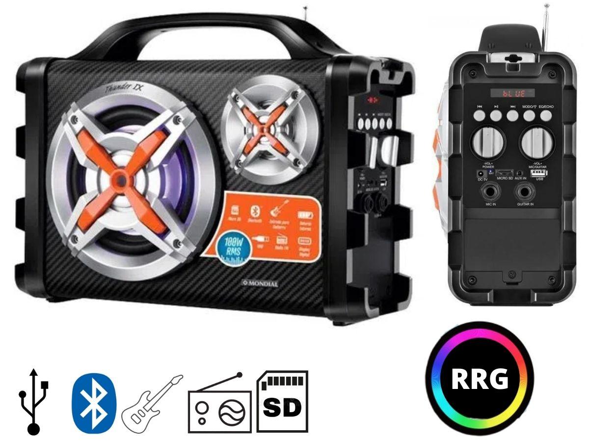 Caixa De Som Portátil Bluetooth Mondial MCO-09 100rms Bivolt