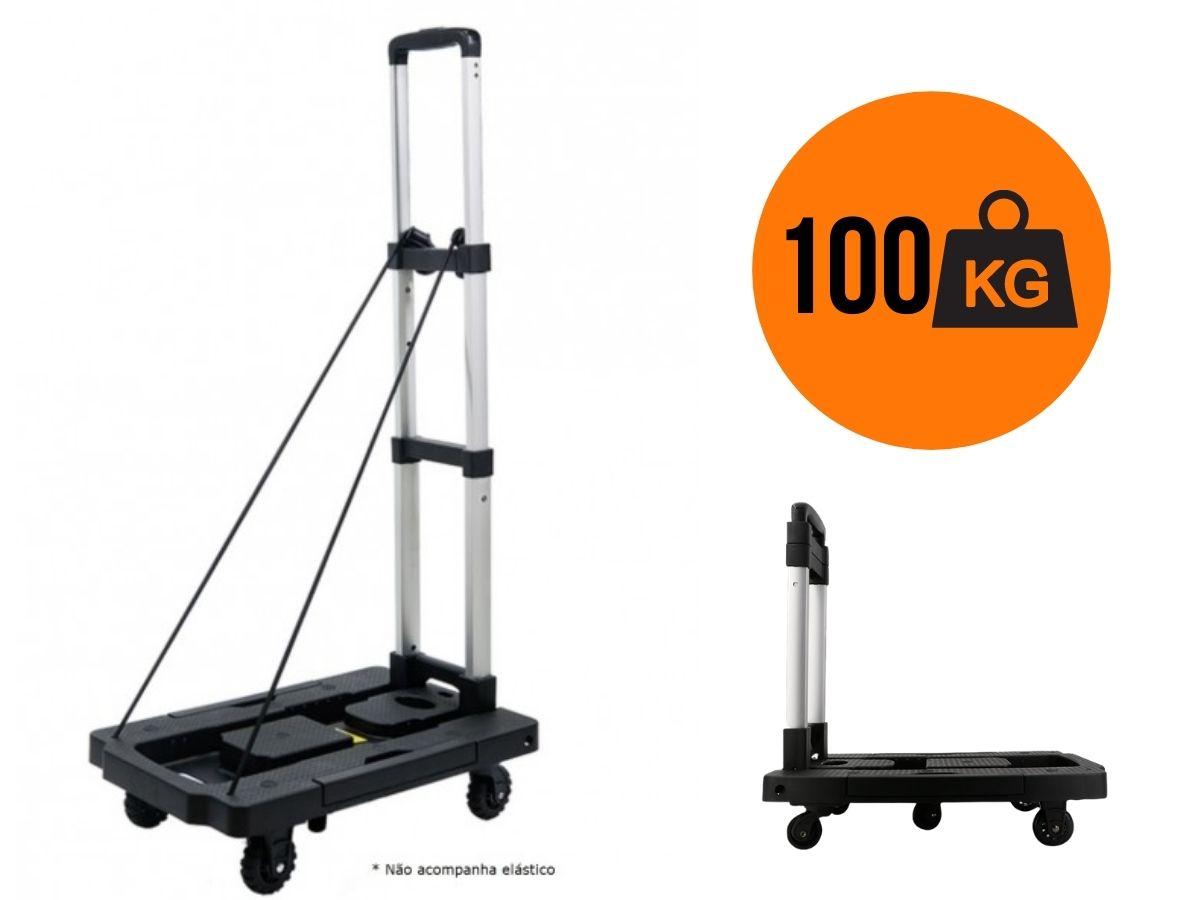 Carrinho de carga plataforma ABS dobravel 100KG GiroMax 5 rodas 360* GT084